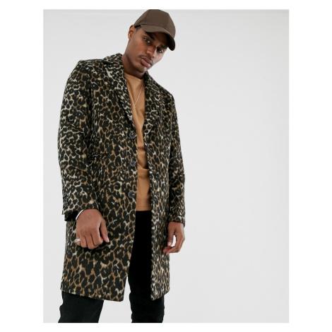 ASOS DESIGN wool mix overcoat in leopard print-Black