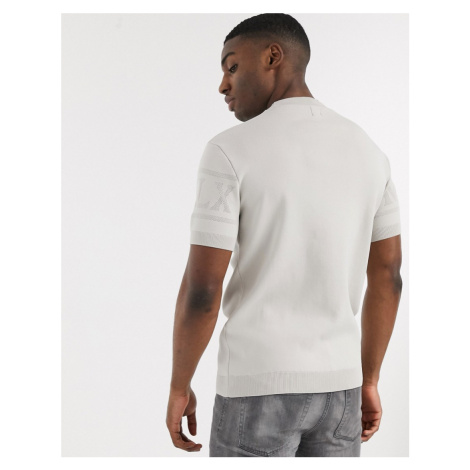 River Island MCMLX knitted t-shirt in stone-Neutral
