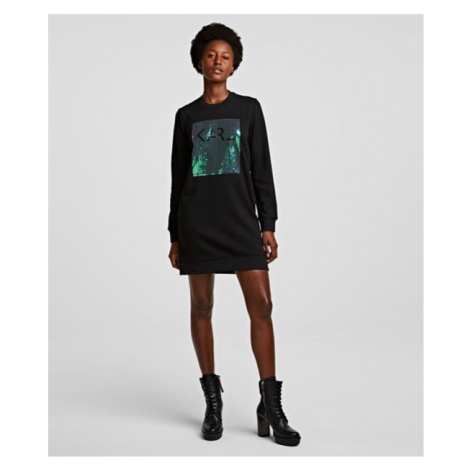 Šaty Karl Lagerfeld Sequins Logo Sweat Dress - Černá