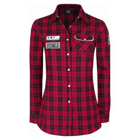 RED by EMP Kostkovaná košile s nášivkami dívcí halenka cerná/cervená