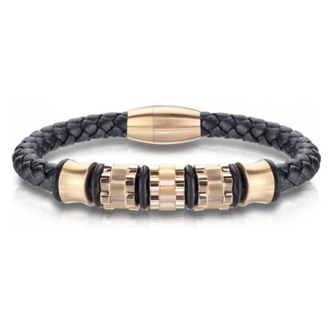 Černý kožený náramek s propleteným vzorem - ozubená kolečka a válečky v měděné barvě - Délka: 21 Šperky eshop