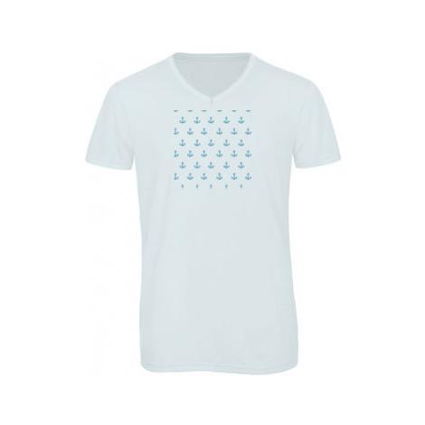 Pánské triko s výstřihem do V vzor kotvy