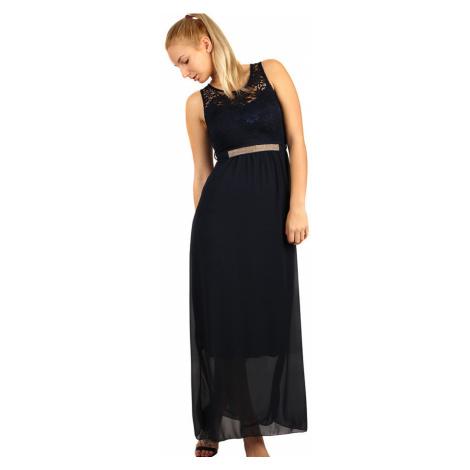 Dlouhé večerní šaty s krajkovým vrškem