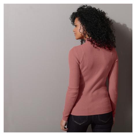 Blancheporte Žebrovaný pulovr se stojáčkem, délka cca 63 cm růžové dřevo