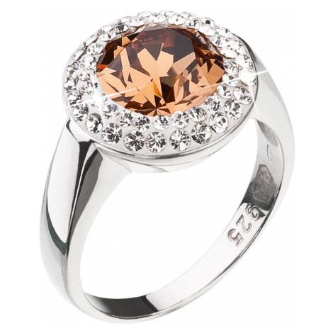 Stříbrný prsten s krystaly Swarovski hnědý kulatý 35026.3 lt. smoked topaz Victum