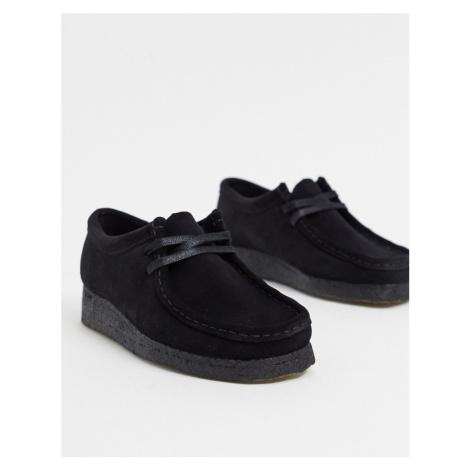 Clarks Originals Wallabee flat shoes in black suede