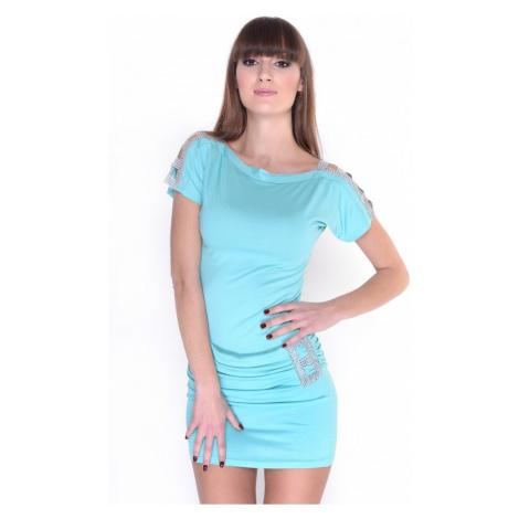Zdobené šaty s lodičkovým výstřihem barva světle mátová Oxyd