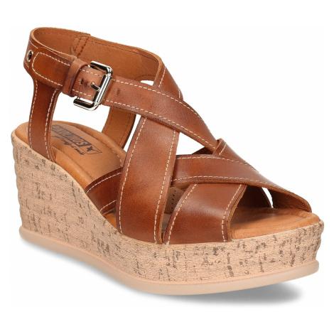 Hnědé dámské kožené sandály na klínovém podpatku Pikolinos