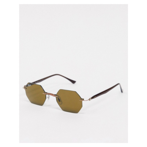 Rayban rimless slim hexagonal sunglasses in brown Ray-Ban