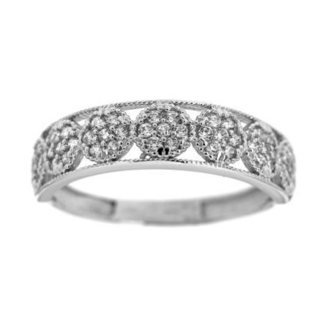 Zlatý prsten kroužek s bílými kamínky 2235B