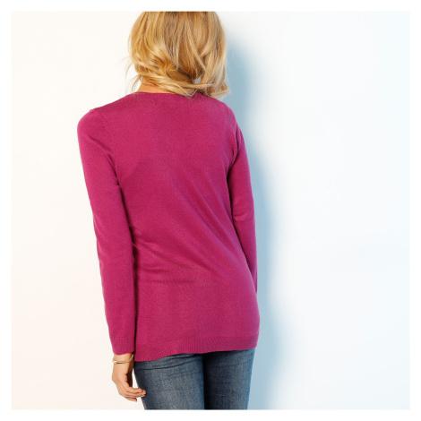 Blancheporte Jednobarevný kardigan kašmírový na dotek purpurová