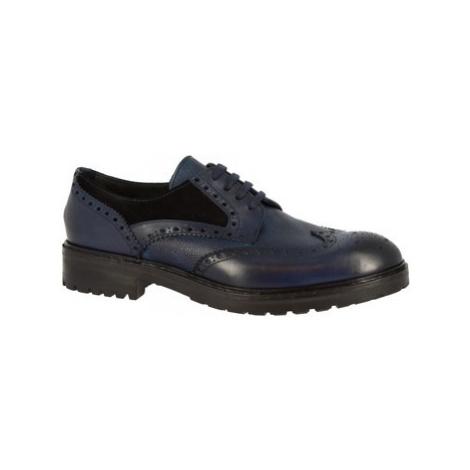 Leonardo Shoes M030-04 RISO VELOUR BLU Modrá