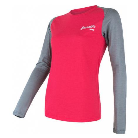 Dámské tričko SENSOR Merino Active PT Logo dl.rukáv magenta/šedá