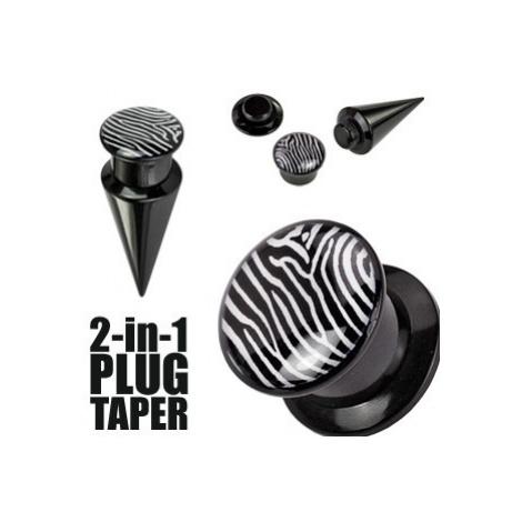 Plug a taper černý a zebrovaný - Tloušťka : 8 mm Šperky eshop