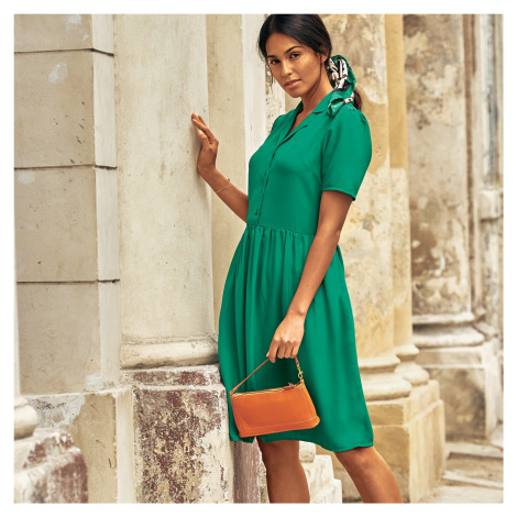 Blancheporte Jednobarevné košilové šaty zelená