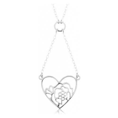Stříbrný náhrdelník 925, řetízek a přívěsek - obrys srdce a květu Šperky eshop