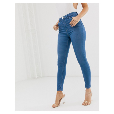 ASOS DESIGN Ridley high waisted skinny jeans with raw hem in french workwear blue