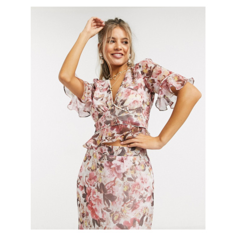 Hope & Ivy plunge front contrast print blouse in multi floral