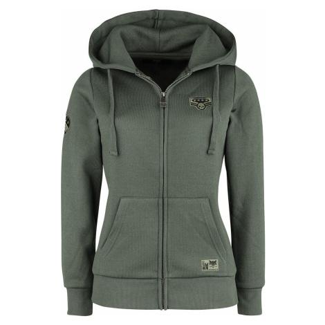Black Premium by EMP Bunda s kapucí a nášivkami Dámská mikina s kapucí na zip olivová
