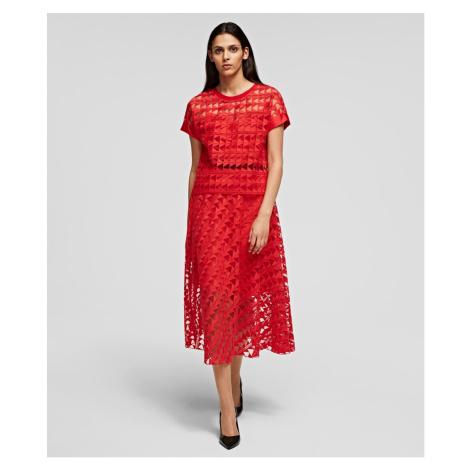 Sukně Karl Lagerfeld Karl Embroidered Mesh Skirt - Oranžová