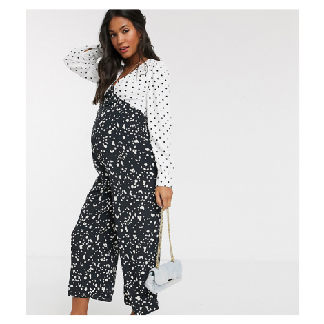 ASOS DESIGN maternity mixed spot print tea jumpsuit-Multi