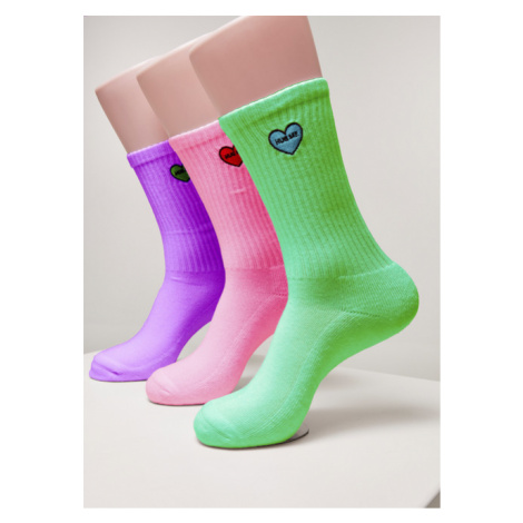 Mr. Tee Heart Embroidery Socks 3-Pack bri.purple+bri.rose+bri.green