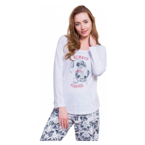 Dámské pyžamo dlouhé Vienetta Secret Buldočci   světle šedá