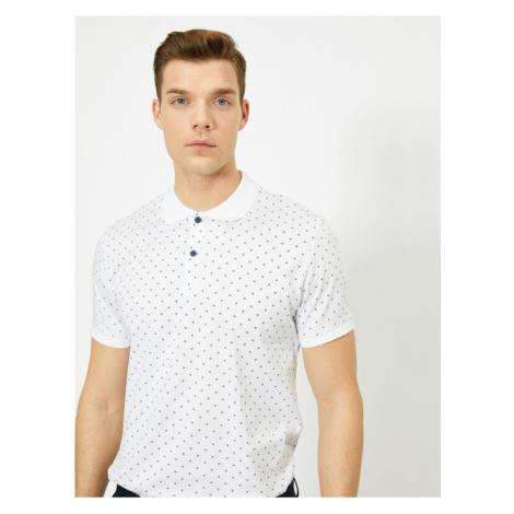 Koton Cotton Slim Fit T-shirt with Male White Polo Neck Pattern