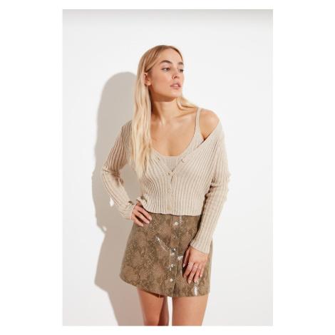 Trendyol Stone Button Blouse Cardigan Knitwear Tool