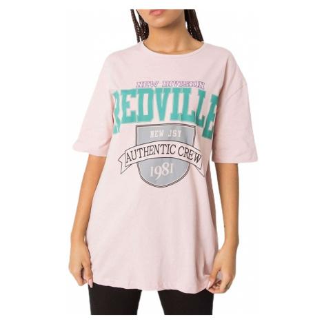 Světle růžové dámské tričko s nápisem Rue Paris