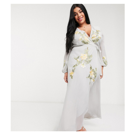 Hope & Ivy Plus exclusive embroidered wrap maxi dress-Multi