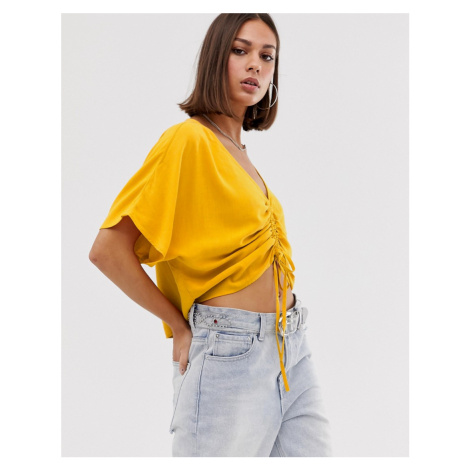 Bershka ruched front blouse in mustard-Yellow