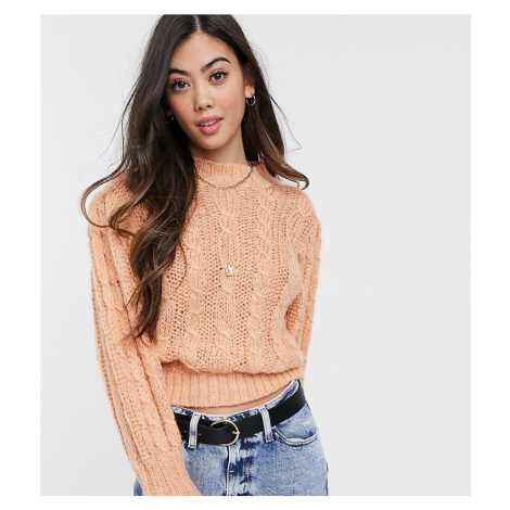 ASOS DESIGN Petite cable jumper in lofty knit-Pink