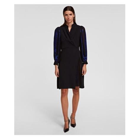 Šaty Karl Lagerfeld Pleated Metallic Dress - Různobarevná