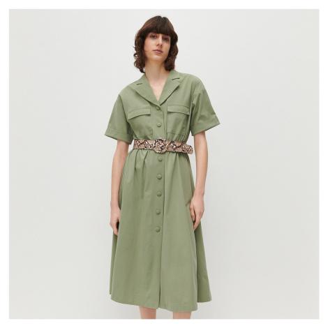 Reserved - Košilové šaty s páskem - Zelená