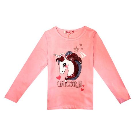 Dívčí triko s flitry - KUGO B3081, světlonce růžová