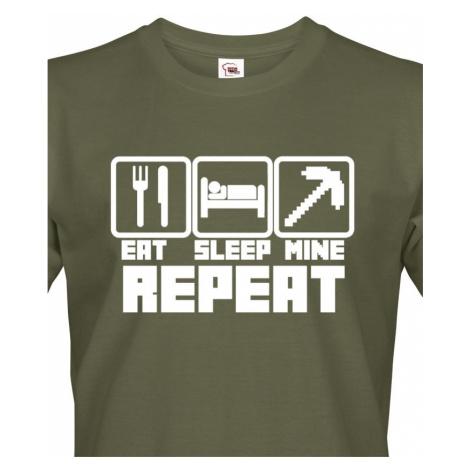 Pánské tričko Eat Sleep Mine Repeat - triko pro hráče Minecraft BezvaTriko