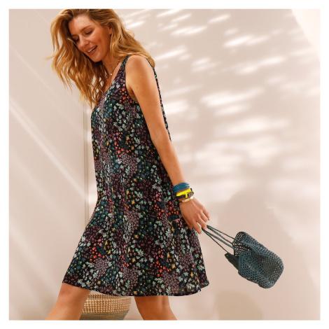 Blancheporte Šaty bez rukávů, s potiskem květin nám.modrá
