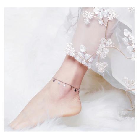 Náramek na nohu stříbrný s přívěsky ve tvaru hvězdiček