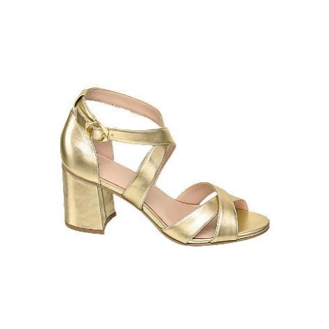 Metalické zlaté sandály na podpatku Graceland