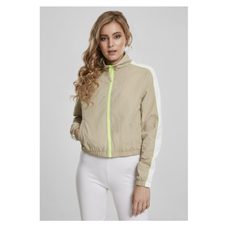 Ladies Short Piped Track Jacket - concrete/electriclime Urban Classics