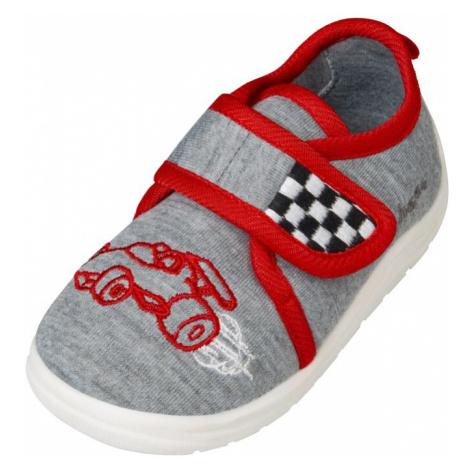 PLAYSHOES Pantofle 'Rennwagen' šedá / červená / bílá / černá