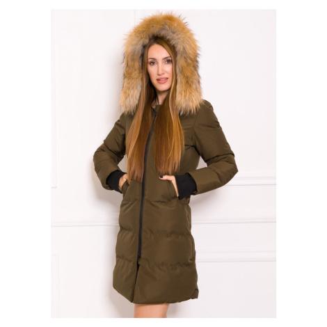 Dámská delší zimní bunda s černým lemem a pravým mývalovcem - olivová