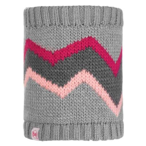 Nákrčník Neckwarmer Knitted a Polar Fleece Buff Junior Arild - šedá/růžová