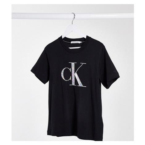 Calvin Klein Jeans Plus iridescent metallic logo tee in black
