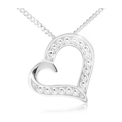 Náhrdelník - řetízek a přívěsek obrysu srdce, čiré zirkony, stříbro 925 Šperky eshop