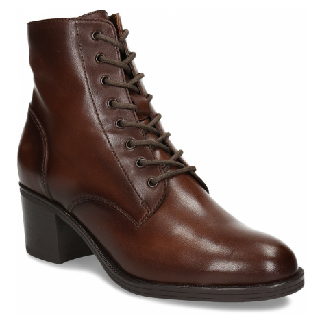 Šněrovací dámská obuv na podpatku v hnědé kůži Baťa