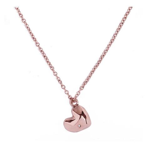 Vuch Romantický bronzový náhrdelník s čirým krystalem Passion Gold