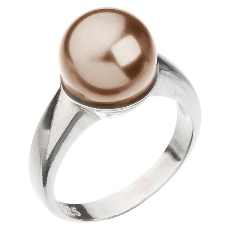 Evolution Group Stříbrný prsten s perlou hnědý 35022.3