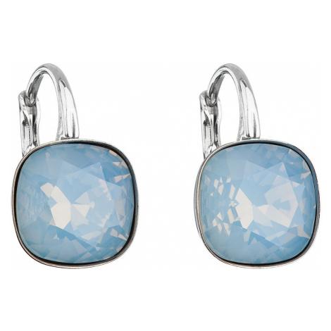 Stříbrné náušnice visací s krystaly Swarovski modrý čtverec 31241.7 blue opal
